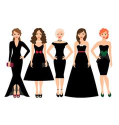young women in black dresses vector image vector image