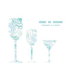 blue line art flowers three wine glasses vector image vector image