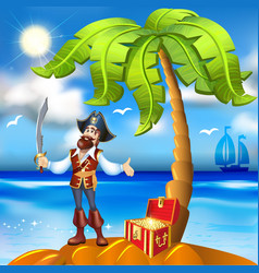 cartoon pirate island and treasure chest vector image vector image
