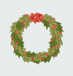 christmas holly berry branch decoration vector image
