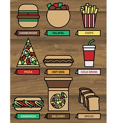 Fast food icons 380 vector image