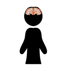 image of a brain against a silhouette of a man vector image vector image