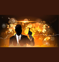 silhouette business man point finger to bitcoin vector image vector image