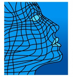 face in blue vector image