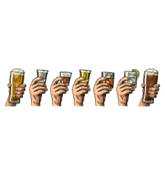 Male hand holding a glass with beer tequila vector image vector image