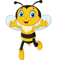Smiley bee flying isolated on white background vector image vector image