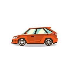 orange car hatchback side view transport for vector image vector image