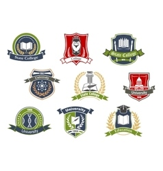 University and college school retro heraldic icons vector image