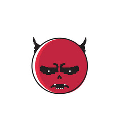 Angry red cartoon face with devil horns negative vector
