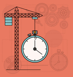 Background with crane tower and clock vector