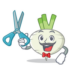 Barber turnip character cartoon style vector