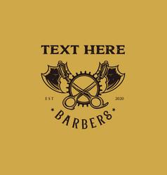 Barbershop logo scissor and axe mascot vector