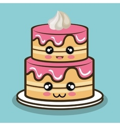 big cake cartoon with cream pink graphic vector image