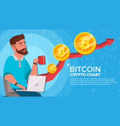 Bitcoin up trend growth concept trade vector