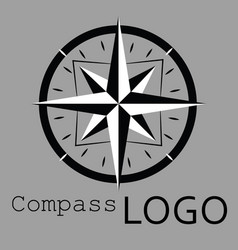black and white compass logo icon rose vector image