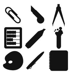 Black school goods silhouettes Part 2 vector image