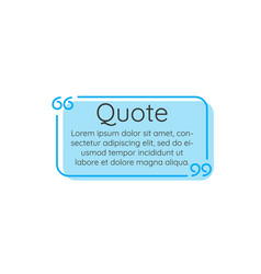 blue linear outline text quote frame on white vector image