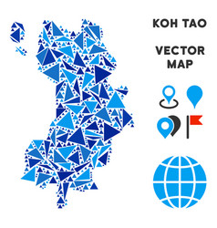 Blue triangle koh tao thai island map vector