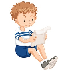 Boy reading from paper vector