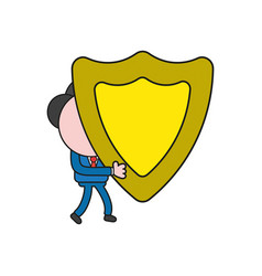 Businessman character carrying guard shield color vector