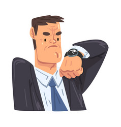 busy businessman looking at wristwatch office vector image