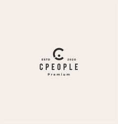 c letter people hipster vintage logo icon vector image
