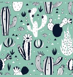 Cactus seamless pattern vector