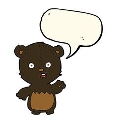 cartoon waving black bear cub with speech bubble vector image