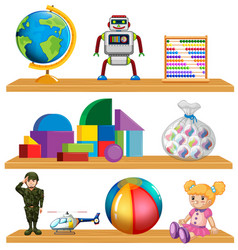 Children toys on shelf vector