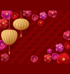 chinese new year hanging lanterns flowers vector image