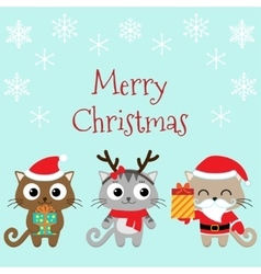 Christmas family of cats vector