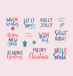 christmas new year lettering typography card set vector image