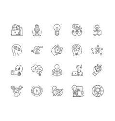 Concentration line icons signs set vector
