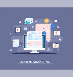 Content marketing blogging and smm concept in vector