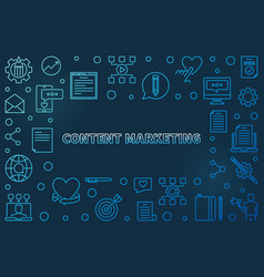 content marketing blue outline horizontal vector image