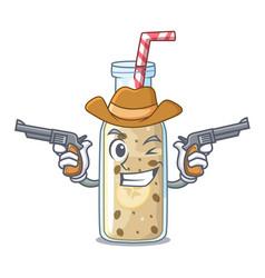 Cowboy banana smoothie on a cartoon table vector