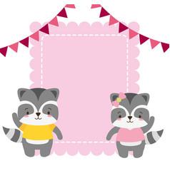 cute couple raccoon animals greeting card vector image