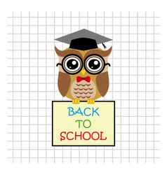 Cute owl teacher on squared background with sign vector