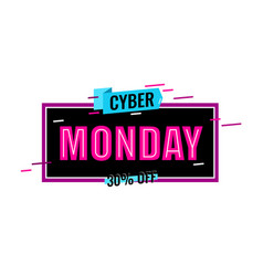 Cyber monday logo design red word monday vector
