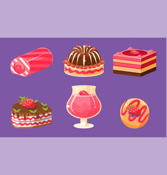 Delicious sweets and desserts set cake cupcake vector