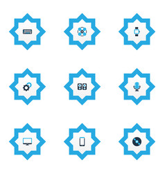 device icons colored set with technology vector image