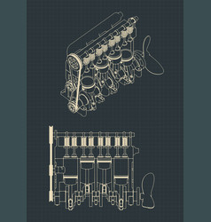 Diesel engine cutaway drawings vector