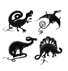 Dinosaurs black silhouette isolated on white vector