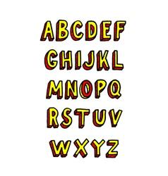 doodle brick font alphabet vector image