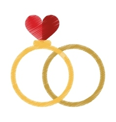 Drawing two romance rings love heart wedding vector