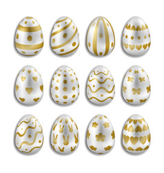 easter white eggs set with gold decor vector image