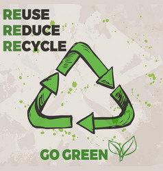 ecological concept poster with hand drawn recycle vector image