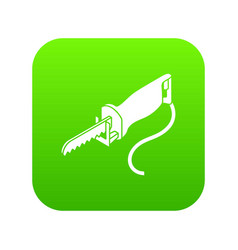 Electric pole saw icon green vector