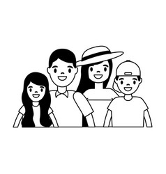 family parents and kids together vector image