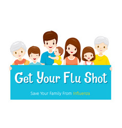 Family with sign get your flu shot take care vector